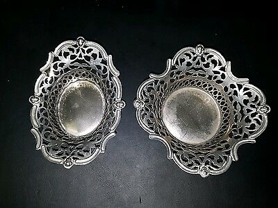 Antique Pair of Silver Plated Pierced Bon Bon Dishes