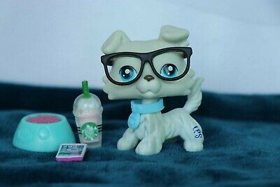 Littlest Pet Shop LPS Toy Collie Dog Blue Eyes Light Grey #363 Authentic Rare