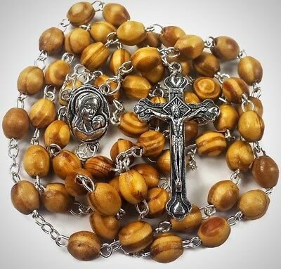Catholic Prayer Rosary Olive Wood Beads Necklaces Holy Soil Medal Metal Cross