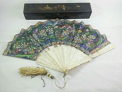 19th Chinese Deep Carved Mother of Pearl 100 Faces Painted Fan for Restoration