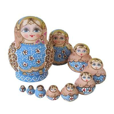 10Pcs Babushka Nesting Dolls Matryoshka Wooden Russian Painted Doll Toy Gift AU