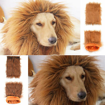 Fancy Dress Up Pet Costume Cat Halloween Clothes Lion Mane Wig For Large Dogs UK