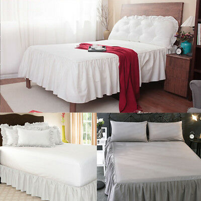 Bed Skirt Fitted Valance Sheet Poly-Cotton Bed Sheet Single Double & King AU