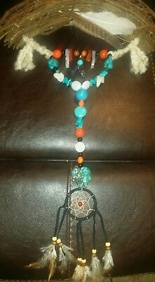 Native American Indian Harmony Flax Bow With Dream Catcher & Healing Gems