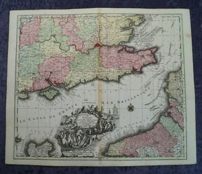Channel England Oxforf London Dover  Original Engraving Map Seutter 1750 #b990S