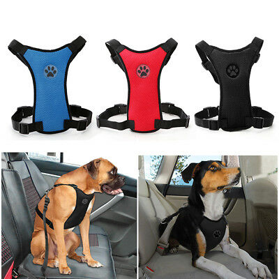 Air Mesh Puppy Pet Dog Car Harness and Seatbelt Clip Lead Safety for Travel AU
