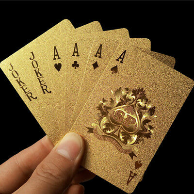 Golden playing cards cover gold foil poker set magic card 24k gold plastic poker