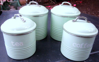 setb of 4 1950's reproduction kitchen storage cannisters - enameled metal