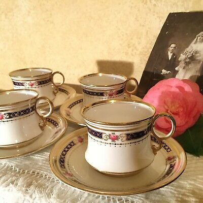 Magnificent Antique Royal Albert Heirloom Set Of 4 Cups & Saucers England