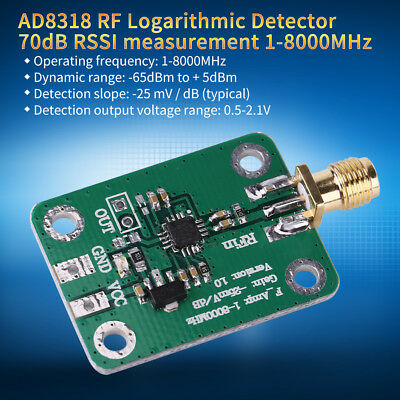 1-8000MHz AD8318 RF logarithmic Detector 70db RSSI Power Meter Controller Module