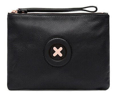 Mimco Daydream Black rose gold medium pouch wristlet leather AUTHENTIC