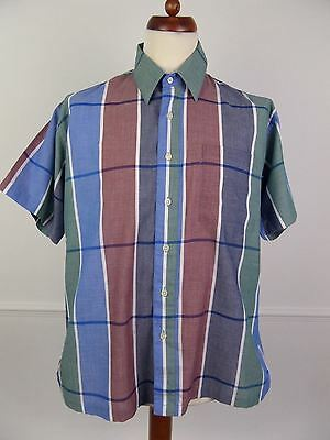Vintage Mens S-Sleeve Checked Casual Pierre Cardin Shirt -L- DW37