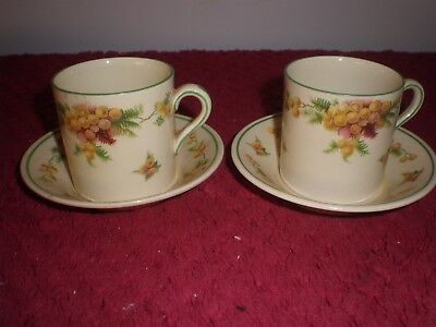 "Pair of Royal Doulton ""Wattle"" Demitasse Coffee Can Duos  D5156 c.1930's"