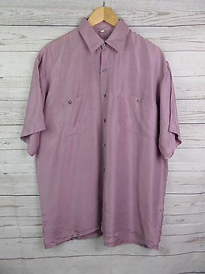 Vtg S-Sleeve Floaty Flouncy Heather Silk Shirt Indie New Wave -M- DL84
