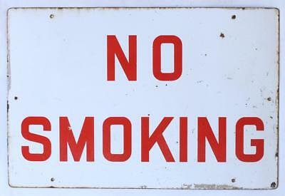 A vintage enamel No Smoking sign Circa 1970 White & red Industrial Old