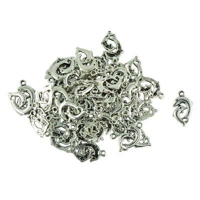 Lot Of 50pcs Antique Silver Dolphins Charm Pendant Beaded Jewelry Findings