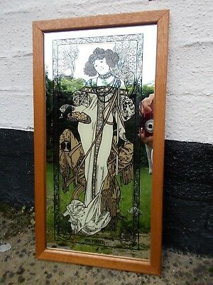 VINTAGE 1970`s PICTURE MIRROR~STYLISH ART NOUVEAU LADY~MUCHA AUTUMN
