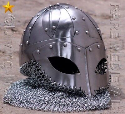 Medieval Armour Closed Viking Helmet With Chainmail Mt466