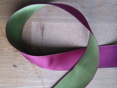 Wire Edge Christmas Ribbon Plum Green Satin 38mm Double sided New