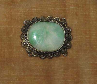 Exquisite antique CHINESE apple green JADE & sterling silver cannetille clasp?