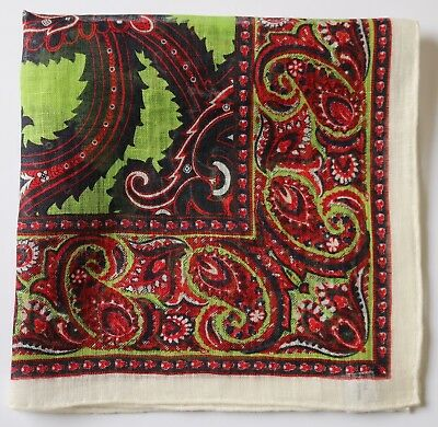Paisley linen pocket square handkerchief 42cm. Hand rolled.