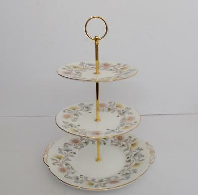 "E.Brain/Foley ""Somerset"" Gilded 3 Tier Cake Stand.1."