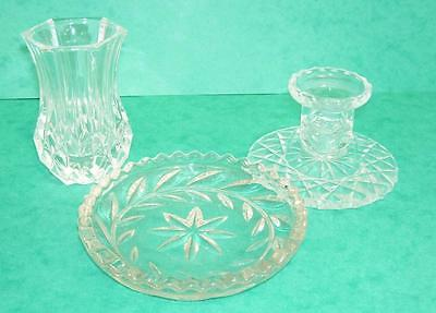 Crystal Cut Glass Vase,Candleholder and Tray.