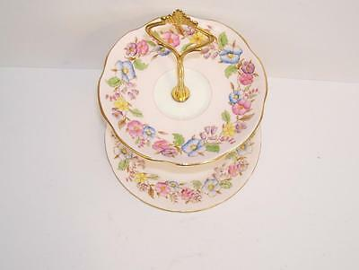 E.Brain Foley Hand Painted 2 Tier Small Cake/Biscuit/Floral Table Stand.
