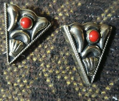 Western sterling silver plated red coral collar tips