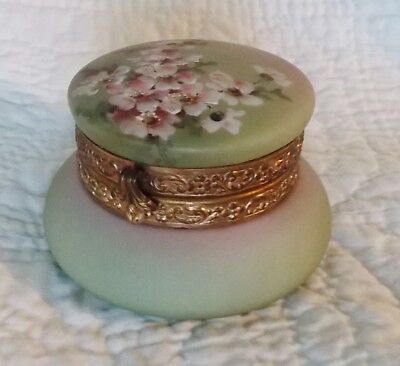 "Antique C.F. Monroe ""Nakara"" Powder Jar With Apple Blossom Decoration"