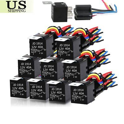 10X DC 12V Car SPDT Automotive Relay 5 Pin 5 Wires w/Harness Socket 30/40 Amp TO