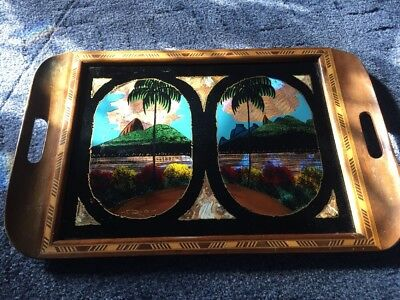 VINTAGE BUTTERFLY WING INLAY WOODEN TRAY RIO DE JANEIRO, c1930