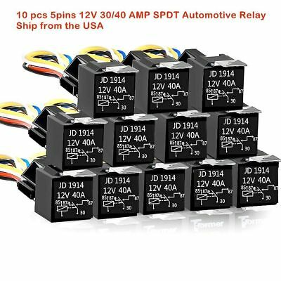 10X DC 12V Car SPDT Automotive Relay 5 Pin 5 Wires w/Harness Socket 30/40 Amp TB