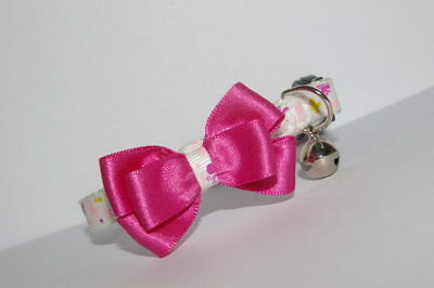 Rose Pink, White & Lemon  Adjustable Bow Quick Release Cat Collar