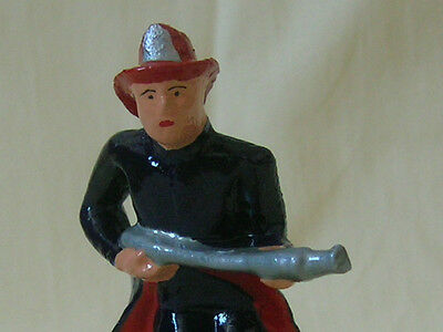 Fireman holding hose, fighting fire, Standard Gauge model train street scene