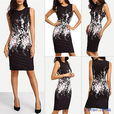 Womens Floral Stretch Bodycon Cocktail Evening Party Slim Pencil Midi Dress 6-14