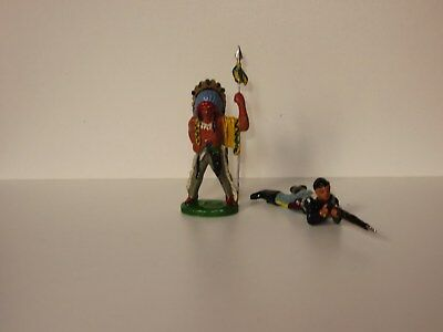elastolin lineol no massefiguren : wild west indianer cowboy krolyn metal
