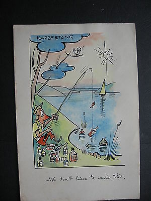Karbeethong WATERCOLOUR  Greeting Card   Fishing with Alcohol Bait