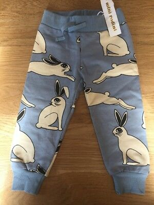 Mini Rodini Unisex Organic Cotton Rabbit Pants / Joggers Aged 9-18 Months BNWT