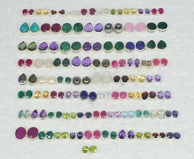 Wholesale 73Pair 925 Solid Sterling Silver Red Ruby & Mix Stone Stud Earring Lot