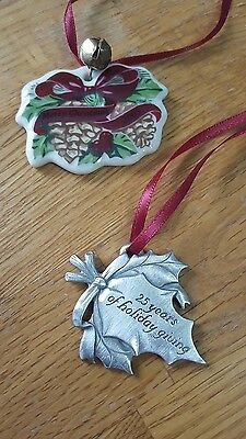 LOT Of 2 Longaberger 2005 Merry Christmas Tie-on Ceramic Ornament  Charm