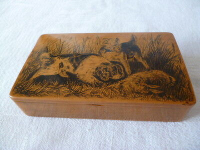 Antique Treen Mauchline Ware Penwork Snuff Box Showing Dogs Over A Rabbit.