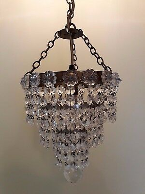 Vintage Edwardian  brass and crystal glass chandelier