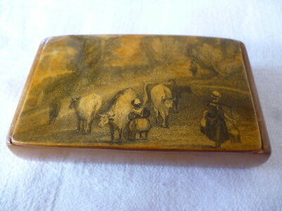 Antique Mauchline Ware Treen Penwork Snuff Box Showing Cows + Milkmaids
