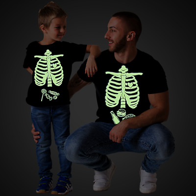 fbd76d8328182 Glow in the dark Halloween Maternity Skeleton Baby Girl Matching Family  Shirts