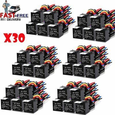 30X DC 12V Car SPDT Automotive Relay 5 Pin 5 Wires w/Harness Socket 30/40 Amp TU