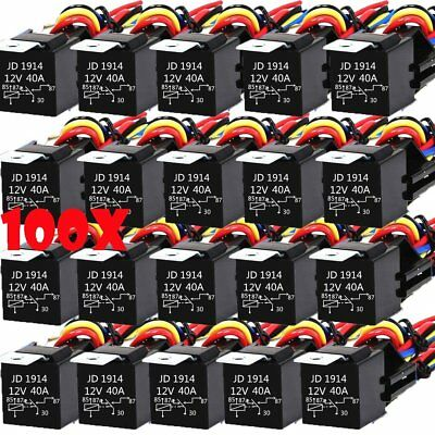 100Pcs DC 12V Car SPDT Automotive Relay 5 Pin 5 Wires w/Harness Socket 30/40 Amp