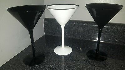 Midnight black and white martini glasses 7.5 in tall