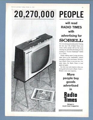 """The  SOBELL """"LUXURY LANDSCAPE"""" 19"""" TELEVISION   (1961 Advertisement)"""