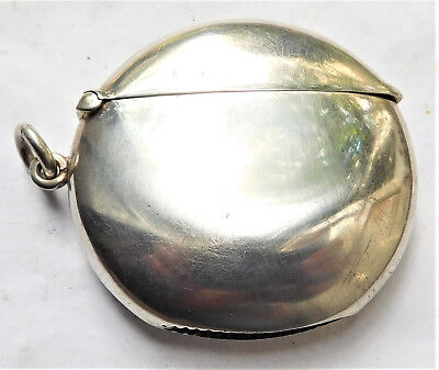 NO RESERVE HM 1905 Silver Vesta Case Match Holder Safe Vintage Antique